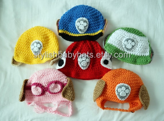 Marshall Paw Patrol Crochet Hat Pattern Free : 3x PAW Patrol Hats Crochet Baby Hat Dog Hat photo prop