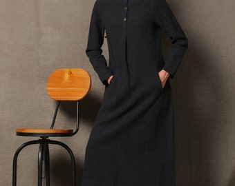 Black Linen Dress - Comfortable Casual Everyday Long Sleeved Button Front Long Maxi Dress with Pockets  C610