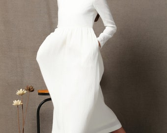 White cotton Dress - High Waist Semi-Fitted Casual Everyday Long Sleeved Maxi Dress C555