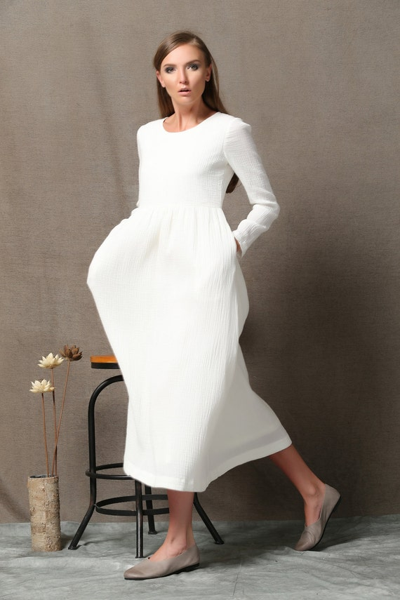 White Cotton Dress High Waist Semi Fitted Casual Everyday