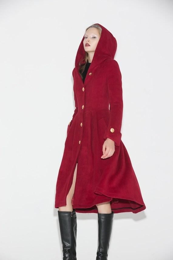 Red Wool Coat Hooded Coat wool coat maxi coat womens