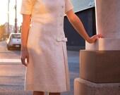 1960s '60s Minidress. Cream Ivory Quilted Dress. A Line Daisy Dress. Asymmetrical Bow Front Dress. Jack Posluns. Small Medium.
