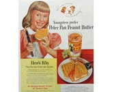 Peter Pan Peanut Butter Ad - Magazine Advertisement - 1950 - Kitchen Wall Art