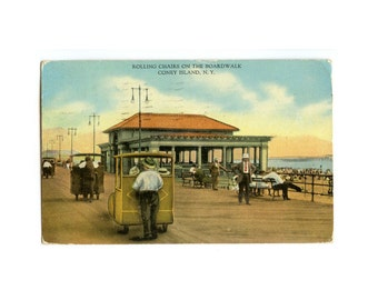 Fun Seashore Postcard - Rolling Chairs on the Boardwalk - Coney Island, NY - New York Vintage Postcard