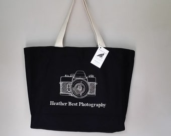 Vintage Camera Bag Tote Professionally Embroidered this design any tote add website photography business for no extra charge