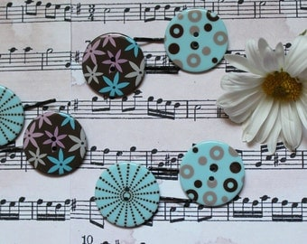 Blue Button Bobby Pins