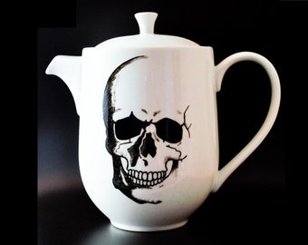 Anatomical Skull - Hand Painted - Tea Pot - Goth Decor
