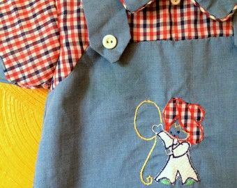 SALE>Vintage baby boy cowboy plaid shirt. Vintage baby boy clothes. Size 3M.
