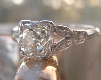 Impressive 1 Carat Old European Diamond. Exquisite Art Deco Vintage Engagement Ring. Platinum. Engagement Ring Bliss!