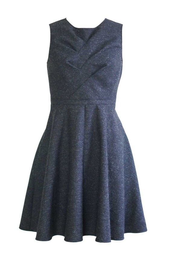 fit and flare wool dress with knee length flared skirt
