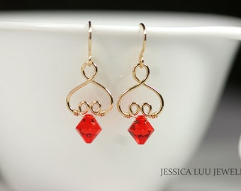Gold Orange Swarovski Crystal Earrings Wire Wrapped Jewelry Handmade Orange Earrings Swarovski Crystal Jewelry Gold Earrings Gold Jewelry
