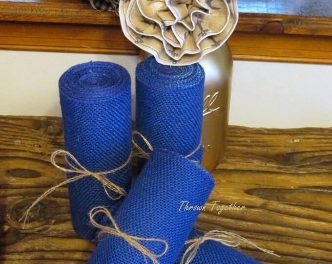 "Blue Burlap Ribbon 6"" Wide,  3 yds ""Wildcat Blue"" Ribbon, Kentucky Blue Burlap"