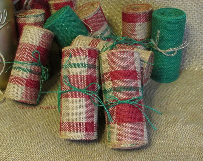 """Primitive Burlap Garland Ribbon 5in. Wide """"Plaid"""" Christmas Ribbon -Christmas Garland-Burlap Bows-Primitive Christmas Decor-Holiday-Wreaths"""