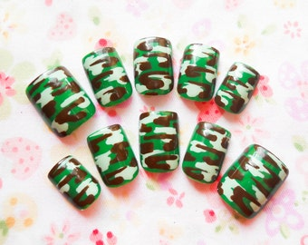 Camouflage Fake Nails, Camo Nails, Camo, Camouflage, Press on, Nails, Acrylic Nails, False Nails, Military, Army