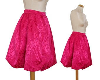 Yves Saint Laurent 1980s 1990s Vintage Balloon Skirt Evening Skirt Shocking Pink Jacquard US Size 4 XSmall
