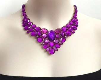 bib purple rhinestone necklace