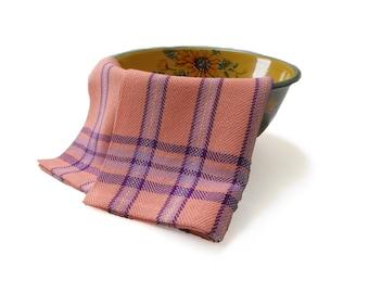 Cantaloupe Tea Towel, Handwoven Gourmet Kitchen Tea Towel with Purple Stripes, Purple Plaid Tea Towel, Hand Woven Tea Towel Pink Peach