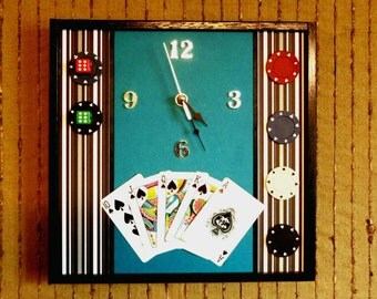 Modern Wall Clock, Unique Wall Art, Games Room, Study Decor, Mens Poker Set Gift, Fathers Day Gift, Dad Present, Cards Set, Nchanted Gifts