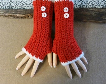 Christmas Crochet Fingerless Gloves, Arm Warmers, Red Gloves, Wool Accessories, Burlesque Winter Gloves, Nchanted Gifts, Australia