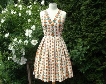 Rose Print Dress Cotton 50's Style Vintage Fabric OOAK