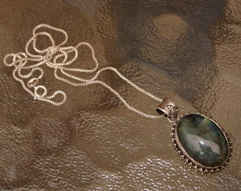 Vintage Silver Necklace with Large Ocean Blue Green Agate Stone Pendant