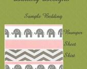4 pc Custom Crib Bedding Set w/FREE monogram nursery grey gray pink white baby