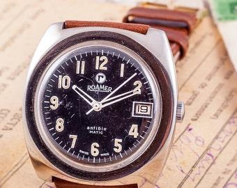 military mens watch,Roamer mens watch,swiss made watch,swiss mens watch,mens diver watch,vintage mens watch,rare mens watch,watches for men