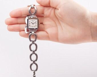 square women watch,ZentRa watch,rectangular watch,womens bracelet watch,metal women watch,watches for women,wind up watch,retro women watch