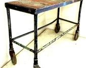 Vintage Steel Industrial Handmade Rolling Shop Cart Casters Distressed Hall Table Bar Cart Red Blue Green Paint