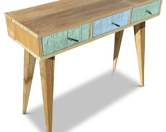 Flash Sale! Modern Mid Century Retro Danish Scandi Shabby Chic Eco Recycled Teal Mint Green & Baby Blue Console / Desk / Dressing Table