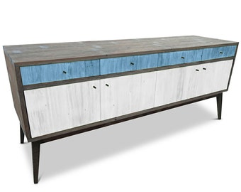 Modern Mid Century Retro Scandinavian Baby Powder Blue & White Sideboard / Buffet / Entertainment Unit - Solid Timber, Recycled Wood