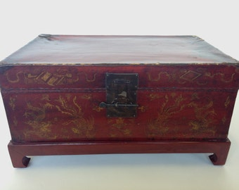 Antique Dragon Paper Mache Asian Trunk with Wooden Stand