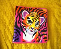 Lisa Frank Tiger Trapper Keeper. 90s Kid Collectible Zip Up Trapper Keeper. Rare Neon Pink Tiger Cat Lisa Frank Collectible.