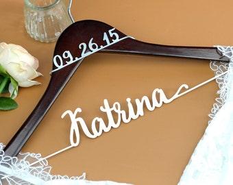 Personalized Wedding Dress Hanger with date, Deluxe Custom Bridal Hanger, Bride Name Hanger, Bridesmaid Hanger, wedding gift EL026