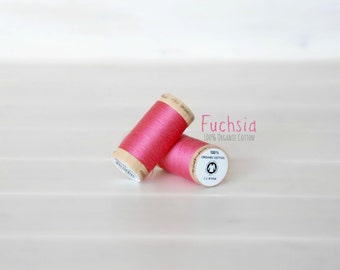 Organic Cotton Thread GOTS - 300 Yards Wooden Spool  - Thread Color Fuchsia - No. 4810 - Eco Friendly Thread - 100% Organic Cotton Thread