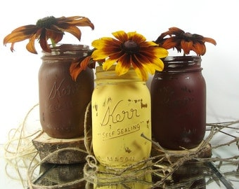 Fall Decor, Thanksgiving Centerpiece, Fall Decorations, Thanksgiving Decor, Rustic Home Decor, Mason Jar Vase, Table Centerpiece