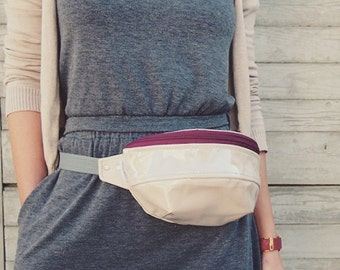 Beige and Maroon PVC Hip Bag with a Zip/ Running belt bag/  Fanny Pack/ Bum Bag / Handmade/ Bum Bag Zipper Tape/ Handmade running belt bag
