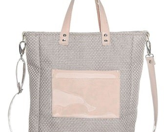 SOLID Geometric Gray Woven Fabric and Beige PVC Tote Bag