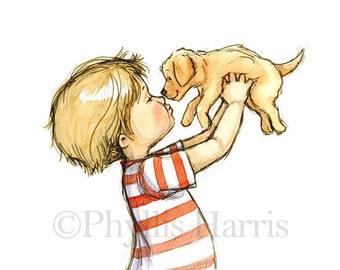 Puppy Love - Boy with golden retriever puppy - Dog art