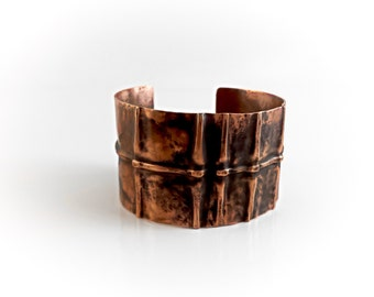 Foldformed Copper Bracelet Cuff - Fold Formed Rustic Tribal Folk Bones Earthy Medieval Warrior - Forged Textured Heat Patina