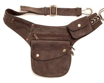 Travel Belt, Pocket Belt Leather, Leather Utility Belt, Utility Belt Brown, Bumbag, Leather Bumbag, Brown Bum Bag, Pocket Belt,festival Belt
