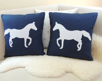 Horse Pillow Cover Pair - Preppy Navy & White