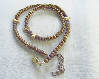 Gold and Purple Beaded Bracelet