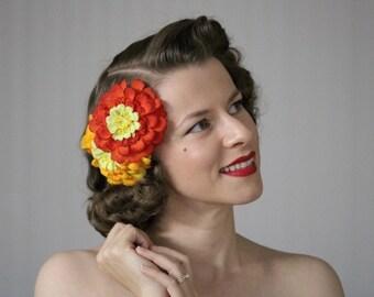 "Floral Headpiece, Fall Flower Fascinator, Orange Hair Accessory, Autumn Clip, 1950s Hair Piece, Vintage - ""Meet Me in October"""