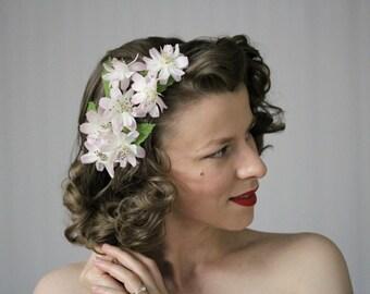 """Vintage Headpiece, Light Pink Headband, Floral Fascinator, Silk Flower Hair Accessory, Blush Hairpiece 1950s Cosmos - """"Clandestine Gardens"""""""