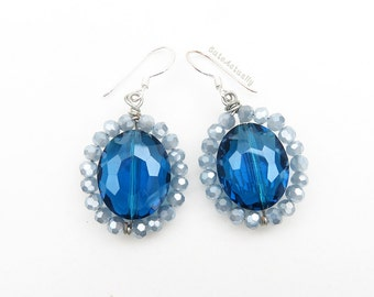 Blue crystal earrings with sterling silver ear wires