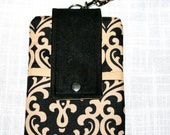 Damask Black Tan Cell Phone Pouch Bag or Cross Body Pouch Bag Digital Camera Bag  iPod iPhone 6, iPhone 6Plus, Samsung Galaxy S6