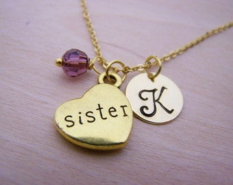 Sister Necklace - Gold Initial Necklace - Birthstone Necklace - Initial Disc Necklace - Personalized Necklace - Sister Charm
