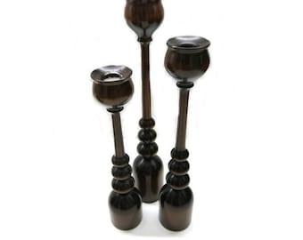 Mid century design- 3  wood candle holder