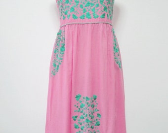 Embroidered Mexican Sundress Cotton Strapless Dress In Pink Beach Dress